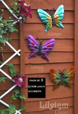 3 of Metal Colourful Butterflies Wall Art Garden Fence Hanging Home Decorations