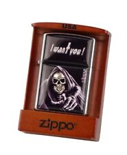 "ZIPPO ""I WANT YOU"" BRUSHED CHROME REAPER SKULL LIGHTER ** NEW IN WOODEN BOX **"