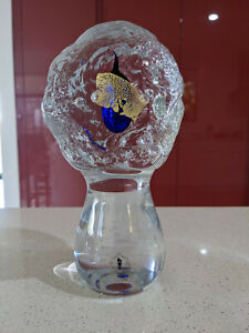 Carlos R Pebaque Gullaskruf Sweden Art Glass Sculpture 24K gold cast in glass