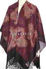 Women warm Pashmina Blanket Cape Poncho/Wrap-Dark.Red