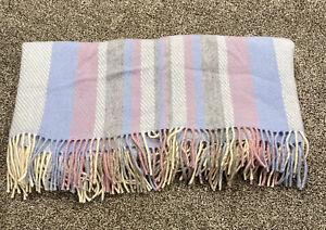 KENNEBUNK Weavers Wool Blue Pink Lightweight Woven Throw Blanket Iceland