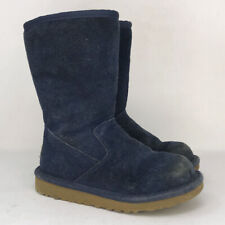 UGG Australia Girls Lil Sunshine 5948 Blue Suede Snow Boots Mid Calf Size 11