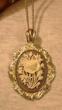 Lovely Scallop Rim Raised Violet White Floral Bouquet Silvertn Pendant Necklace