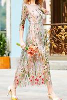 AU seller- Beige / nude floral embroidered cocktail prom evening long mesh dress