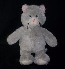BUILD A BEAR GRAY KITTY CAT PINK NOSE EARS STUFFED ANIMAL PLUSH TOY BABW SOFT