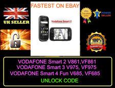 VODAFONE Smart 2 V861, Smart 3 V975, VF975 SMART 4 Fun V685, VF685 codici di sblocco