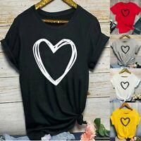 Womens Summer Short Sleeve Shirt Blouse Ladies Print Basic Tee Casual Tops AU