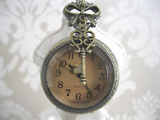 New Large Antique Bronze Steampunk Vintage Clear Key Pocket Watch Necklace