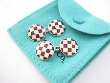 Tiffany & Co Red White Enamel Checkered Flag Cuff Link Cufflink Cufflinks