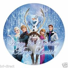 """Frozen PERSONALISED 7.5"""" Round Cake Topper Pre-Cut Fondant Icing NOT RICE PAPER"""