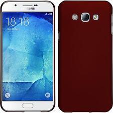 Custodia Rigida Samsung Galaxy A8 (2015) - gommata rosso + pellicola protettiva