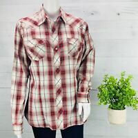 Roper Womens Western Shirt Pearl Snap Metallic Thread Red Brown Plaid Size M