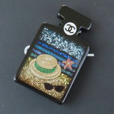 Auth CHANEL Logos Perfume Beach Motif Pin Brooch Plastic BK France 18S 32BS331