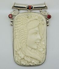 VINTAGE Hand-carved CAMEO Carved Bone pendant (60x40 mm) in 925 Sterling Silver