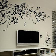 Room Decor Black Vines Butterfly Removable Vinyl Mural Wall Sticker DIY New