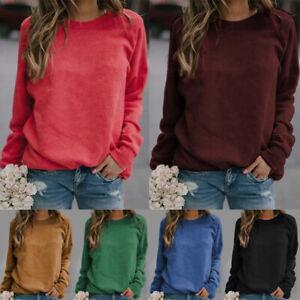 Women's Plain Sweatshirt Soft Crew Neck Fleece Pullover Jumper