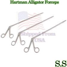 3 Hartman Alligator Ear Forceps Serrated 12'' 14'' 18