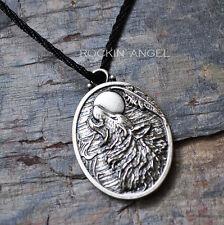 Antiguo Plata 925 PLT Wolf cara aullidos en la Luna Colgante Collar, Unisex Regalo
