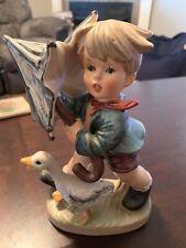 Goebel Hummel Boy with Umbrella Figurine W. Germany C8747 RARE FAST Shipping!!