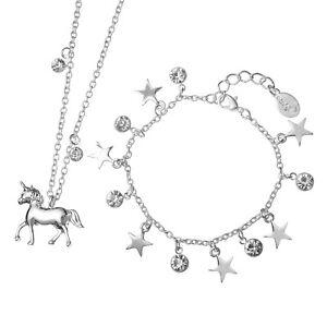 emoji® Unicorn Necklace & Starry Bracelet Set