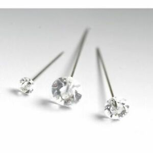 """DIAMANTE Pins Florist Bouquet Wedding Buttonholes Craft 4cm/1.5"""" 5cm/2"""" 6cm/2.5"""""""