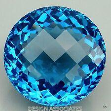 SWISS BLUE TOPAZ 8 MM ROUND CHECKERBOARD TOP  AAA  FANCY CUT