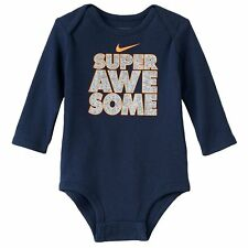 """Nike Baby Boys LS Bodysuit Shirt Navy  """"Super Awesome"""" NWT  0/3M or  3/6 Month"""
