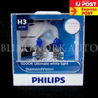 Philips H3 Diamond Vision 5000k Halogen Xenon White Fog Light Bulbs Globes