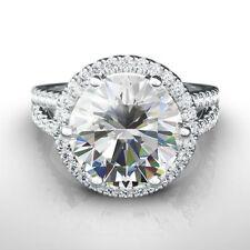 HALO DIAMOND RING 5 CT 18 KARAT WHITE GOLD SI2 CERTIFIED COLORLESS SIZE 7 8 9