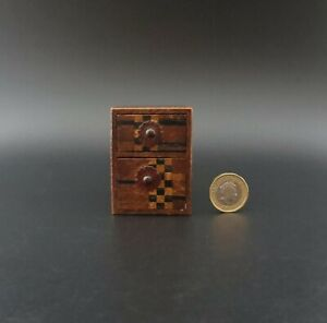 """Unusual Miniature 2.5"""" Antique Handcrafted Chest of Drawers with Marquetry"""