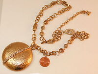 Chico's Hammered Gold Round Pendant Rhinestone Fancy Chain Necklace 2a 21