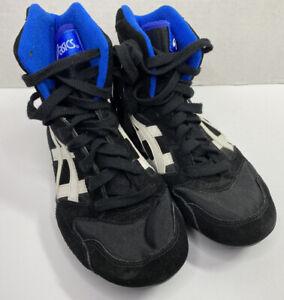 ASICS Boxing MMA Wrestling Shoes color Black White Blue woman's sz 7.5