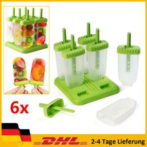 Eis am Stiel Formen Eisformen Eisförmchen Stieleisform im 6er Set DIY Ice Pop DE