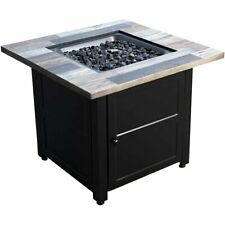 Outdoor Gas Fire Pit Table with Fire Glass and Cover Garden Heating 50,000 Btu