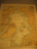Antike Karte von Nordpol Länder und Unerforschtes von 1903-Antique map