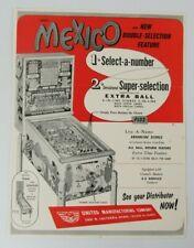 Original United's Mexico Bingo Arcade Pinball Machine Advertising Flyer