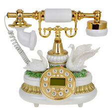 White Ceramic Retro Antique Telephone Push Button Dial Desk Phone Room Decor