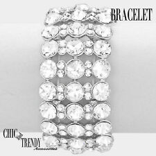 Bracelet Prom Formal Wedding Trendy Jewelry High End Clear Glass Crystal Chunky