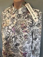 BNWT Womens Sz 16 Rivers Regular Fit Cream Floral Cotton Long Tab Sleeve Shirt