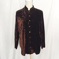 equipment women's brown crush velvet long sleeve shirt size M