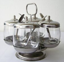 CONDIMENT CADDY Set GLASS Stainless Steel REVOLVING SPIN 4 Jars Lids Spoons Base