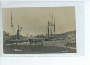2nd Real photo postcard of sailing ships West bay nr Bridport Dorset Hider photo