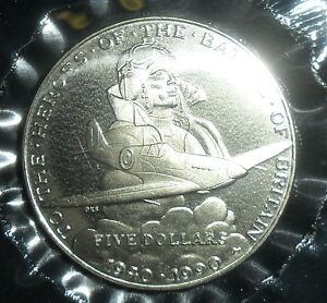 $5 The Heroes of the Battle of Britain, Marshall Islands Coin Uncirculated 1990