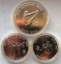 South Korea 1988 Olympics Set of 3 Silver Coins,BU