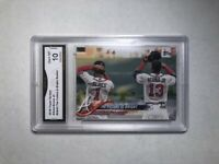 RONALD ACUNA JR BASEBALL CARD ROOKIE w/ ALBIES 2018 TOPPS #US43 GRADED 10 MINT