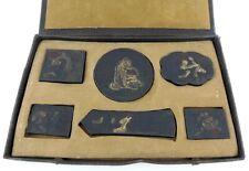 ANTIQUE - 6 CHINESE GILT / COLOURED DRAGON DEITY INKSTONE BOX SET - 25cm x 16cm