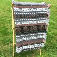 Vintage Goodwin Weavers Flower Stripe 100% Cotton Blanket with Fringe