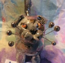"""""""Berlioz"""" hand painted Scottish Fold WhimsiClay Cat one-of-a-kind w/platinum"""
