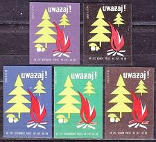 POLAND 1968 Matchbox Label - Cat.Z#891 set, Watch out! ( Forest and fungi )