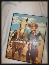 """Roy Rogers Puzzle  1949 Tray  board 15"""" x 12"""" 28 pieces  one piece sticker"""
